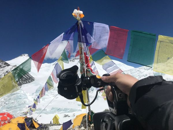 Colourful prayer flags at Mount Everest's South Base Camp in Nepal.