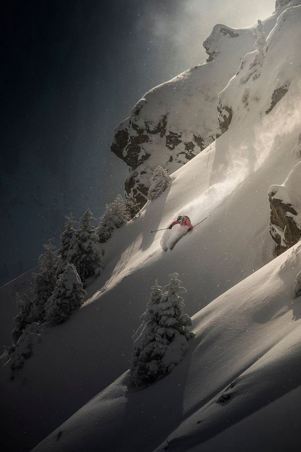 Matthias Haunholder skiing down a steep slope in Kitzbuhel, Austria.