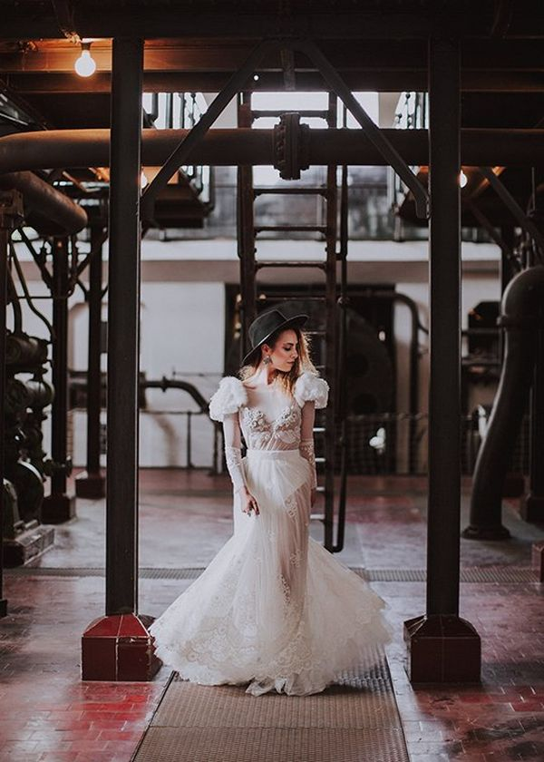 Portrait of a bride in disused power station. Photo by Dasha Starr on Canon EOS 5D Mark III.