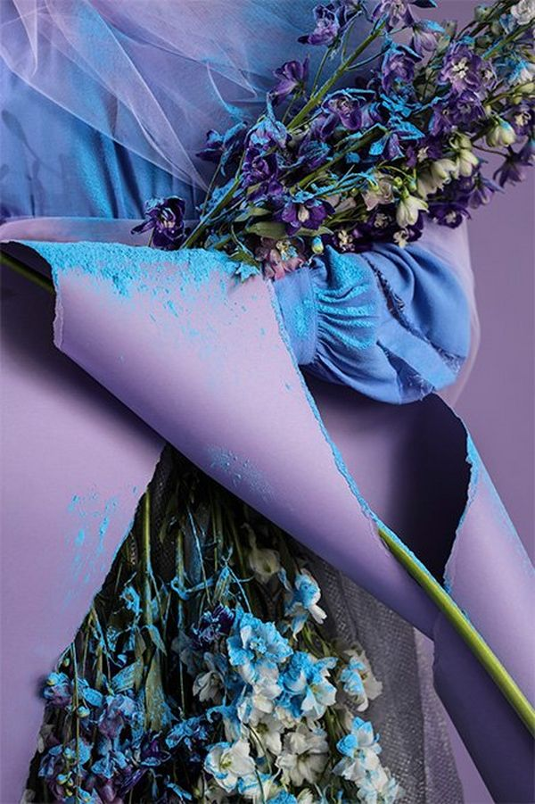 A still life of flowers, torn paper and powder with a blue and purple theme.
