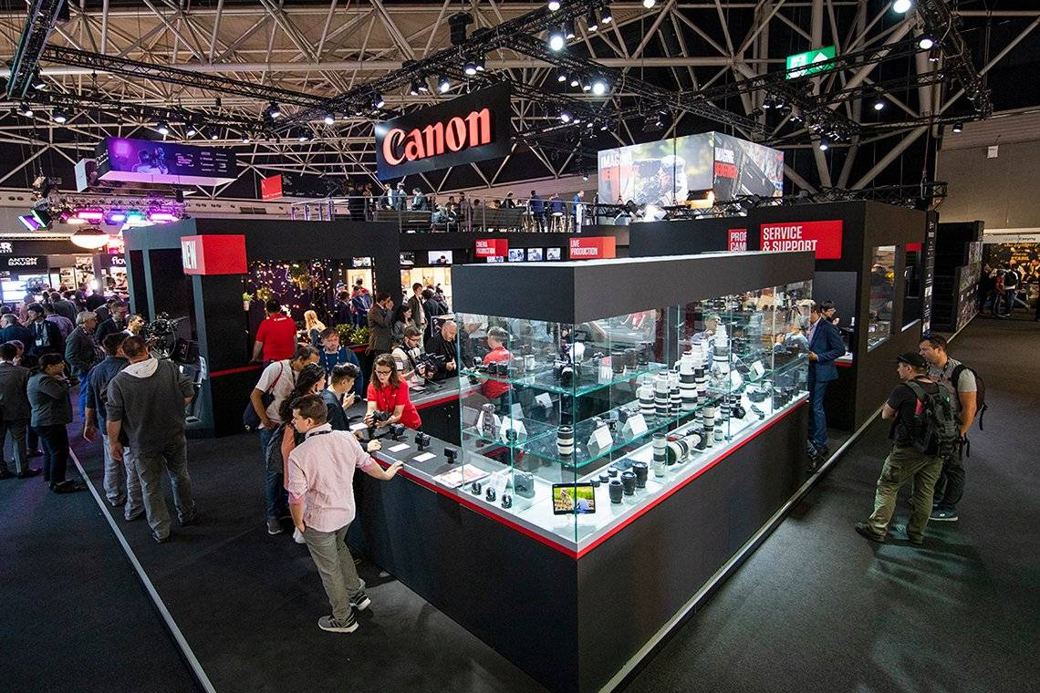 The Canon stand at the International Broadcasting Convention 2019.