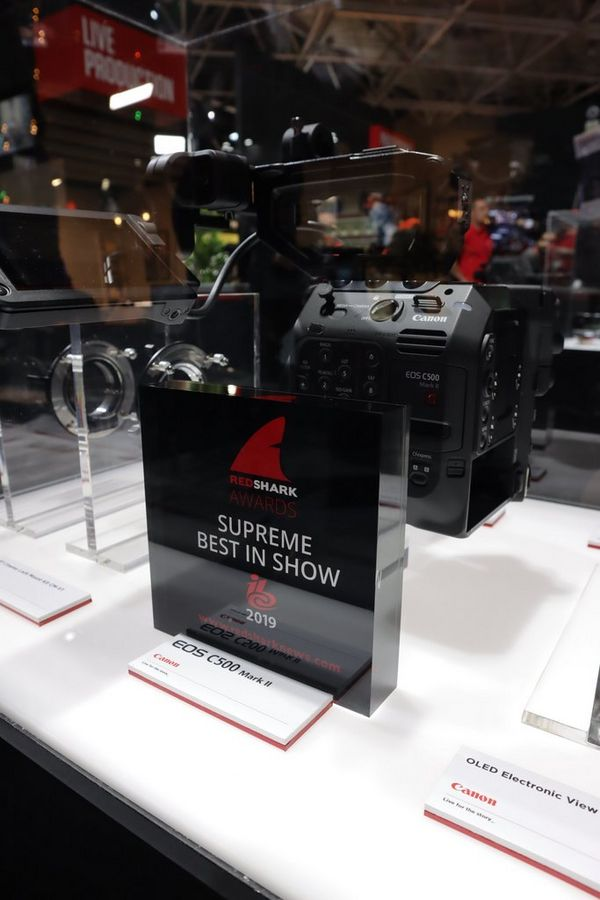 The Canon EOS C500 Mark II with RedShak Supreme Best in Show 2019 award.