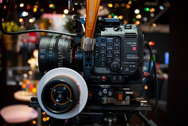 The Canon EOS C500 Mark II video camera with a 85mm Summer Prime lens