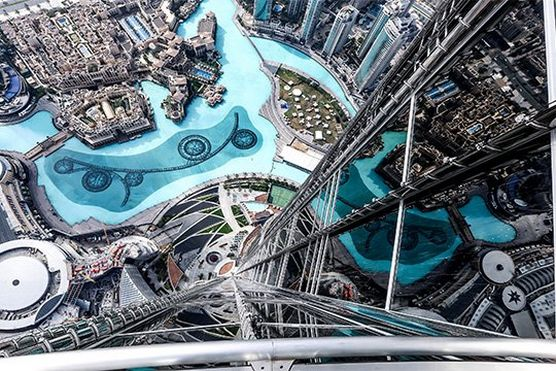 A photograph of the downtown Dubai area, taken from the 124th floor of the Burj Khalifa – the world's tallest tower.
