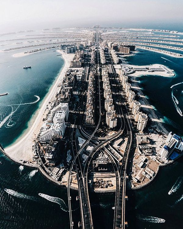 Aerial shot of Dubai, taken at dusk. The view is one of the photographer's favourites.