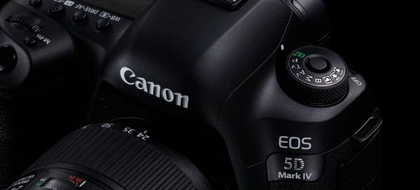 An extreme close up photo of the Canon EOS 5D Mark IV.