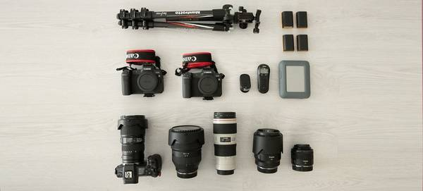 Joel Santos's Canon cameras and lenses.