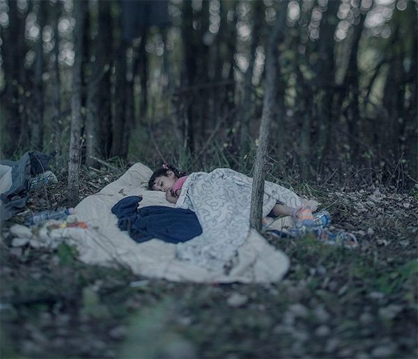 A small girl lies asleep in a woodland, under heaps of blankets. The image is soft and dreamlike