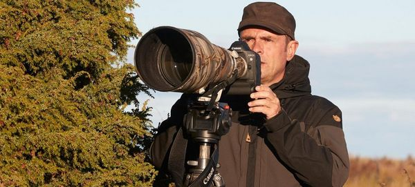 Photographer Markus Varesvuo positions a Canon camera with a long lens, which is on a tripod and covered with a camouflage lens cover. He stands beside a fir tree.