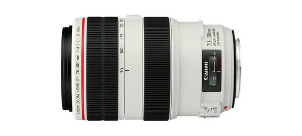 A Canon EF 70-300mm f/4.5-5.6L IS USM lens.