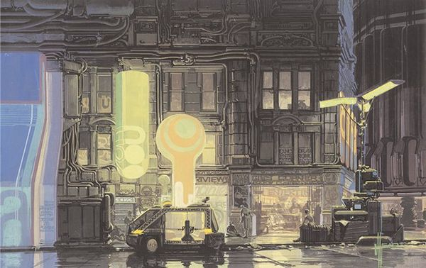 A concept art painting shows a dark city street with older buildings fitted with neon external light panels, and a futuristic car parked.