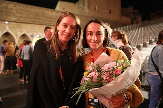 Canon Female Photojournalist Grant recipients Anush Babajanyan and Laura Morton at the 2019 Visa pour l'Image festival in Perpignan, France.