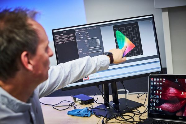 A man points to a monitor with a colour profile chart on the screen.