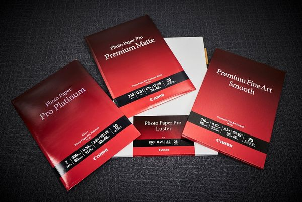 A selection of Canon pro photo papers.