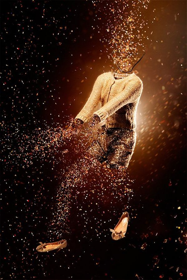 A model seems to be transformed into an explosion of confetti; only the cardigan and shoes are unaffected. Photo by Quentin Caffier, taken on a Canon EOS 5D Mark II.