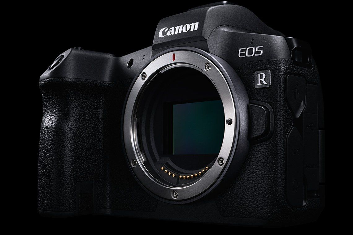 Canon unveils six new RF lenses for 2019: A Canon EOS R camera with the RF lens mount visible.