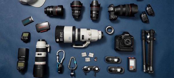 The contents of Richard Walch's kitbag, including a Canon EOS-1D X Mark II, EOS R, and several lenses.