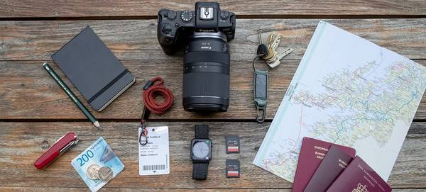 Richard Walch's photography kitbag, containing a Canon EOS RP and RF 24-240mm F4-6.3 IS USM lens.