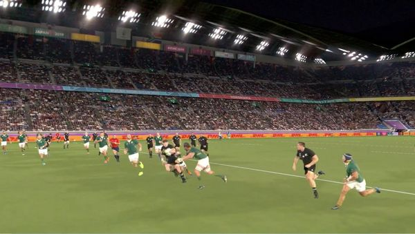 A frame from a Canon Free Viewpoint Video System video of the Rugby World Cup 2019 New Zealand v South Africa match.