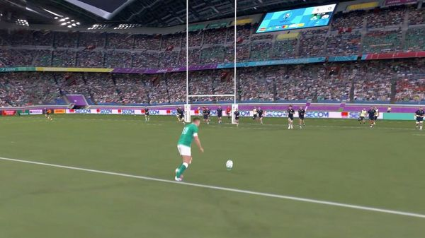 In a frame from the Canon Free Viewpoint Video System clip of the Ireland v Scotland match at Rugby World Cup 2019, an Irish player takes a penalty kick.
