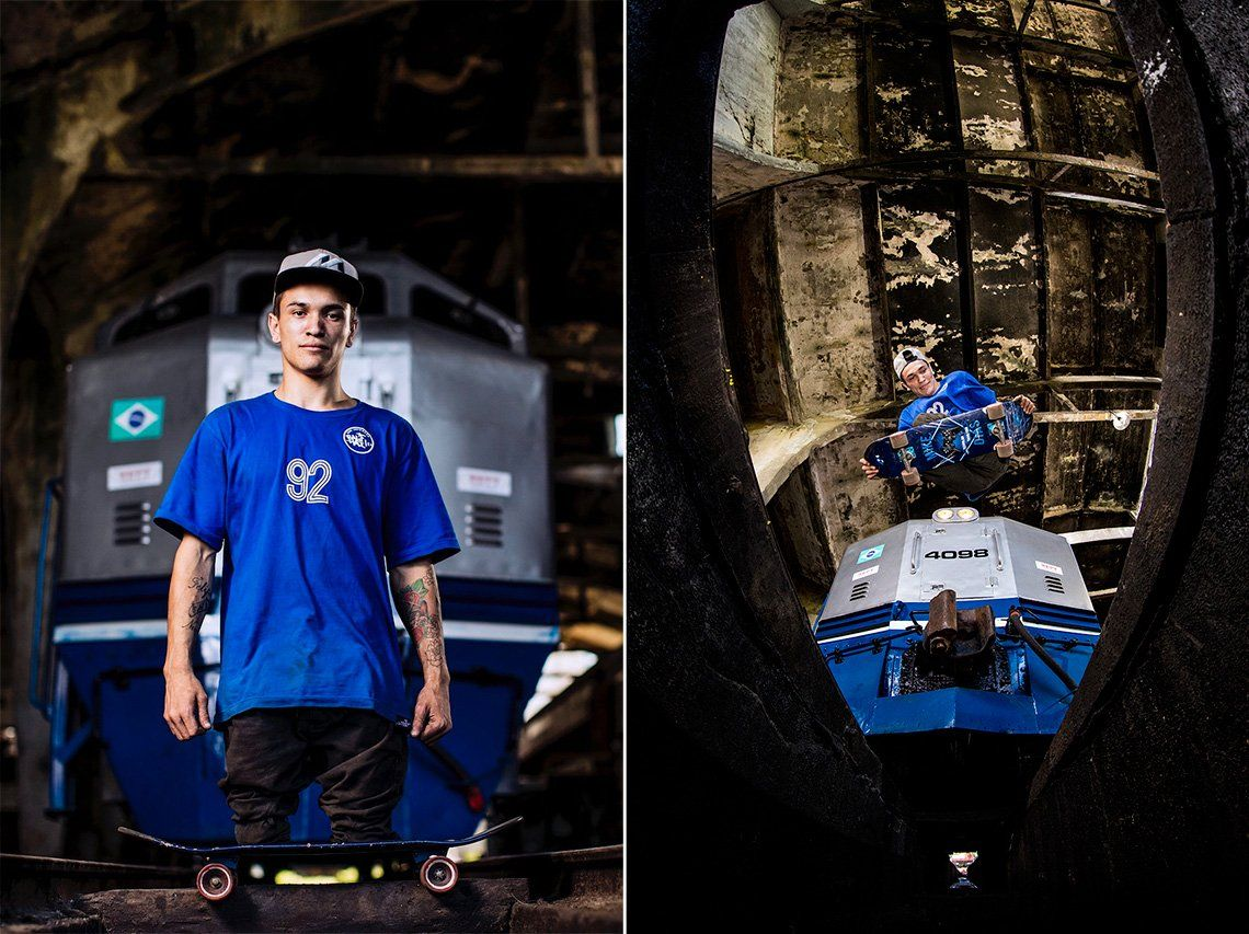 A diptych image shows, left: a portrait of Felipe Nunes standing on a skateboard without any prosthetic legs, in front of a stationary train, right: Felipe jumping over the camera on his skateboard, a battered wooden roof overhead and a train behind him.