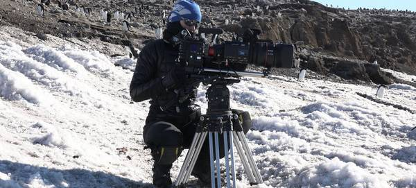 Sophie Darlington crouches in the snow with a Canon lens on a camera in front of a colony of penguins.