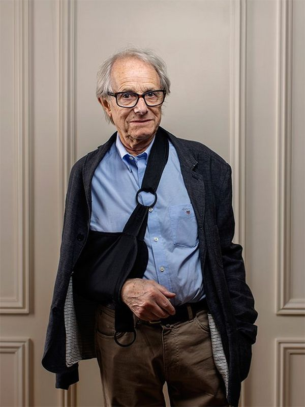 Director Ken Loach, his right arm in a sling, photographed at Cannes Film Festival by Paolo Verzone using a Canon EOS R.