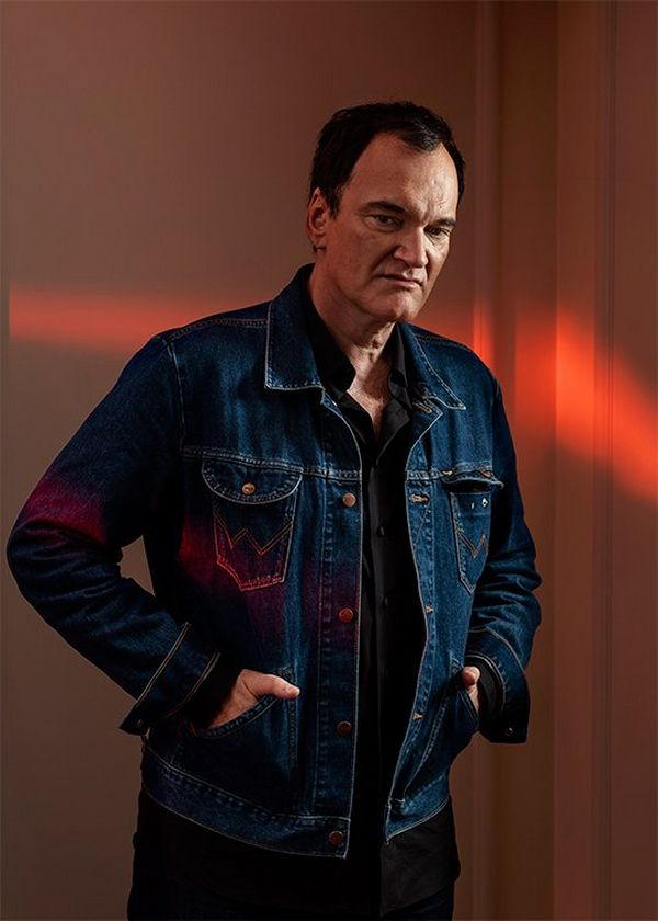 A portrait by Paolo Verzone of director Quentin Tarantino in denim, taken on a Canon EOS R.