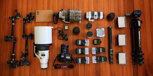 Christian Ziegler's photography equipment is laid out.