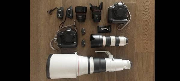 The contents of Alessandro Trovati's kitbag, including two Canon EOS-1D X Mark II bodies, Canon lenses and accessories.