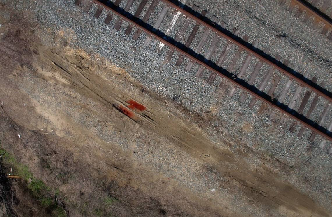 Blood stain on the woods of Georgia where double homicide took place.