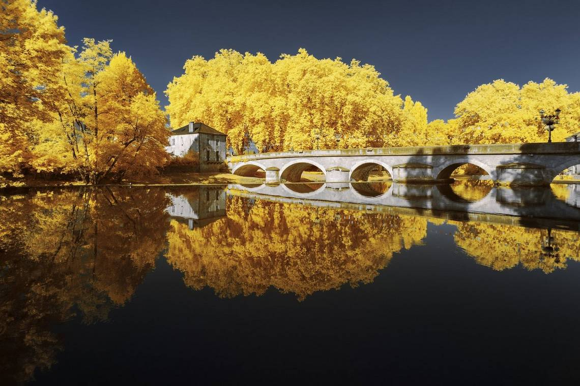 An infrared shot of a bridge across a still lake in which the trees appear bright yellow. Taken by Pierre-Louis Ferrer.
