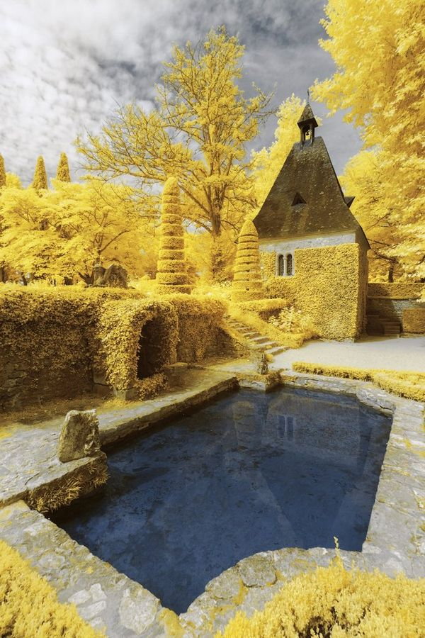 An infrared shot of Eyrignac Manor Gardens, France, in which all the trees and foliage appear bright yellow. Taken by Pierre-Louis Ferrer.