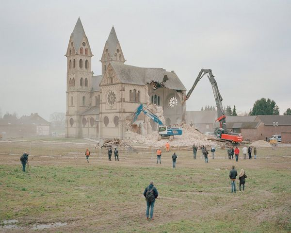 The parish church of St. Lambertus being demolished in Immerath.