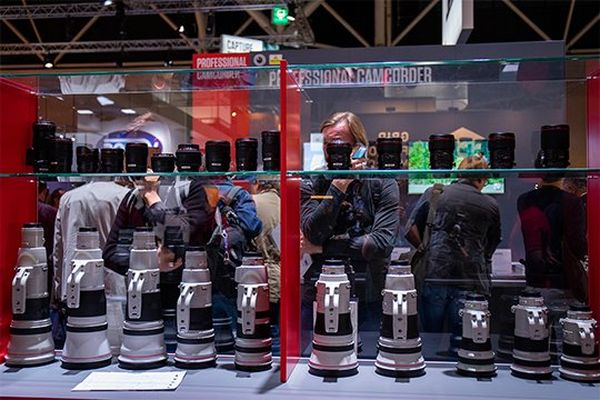 Canon lenses on display at IBC.