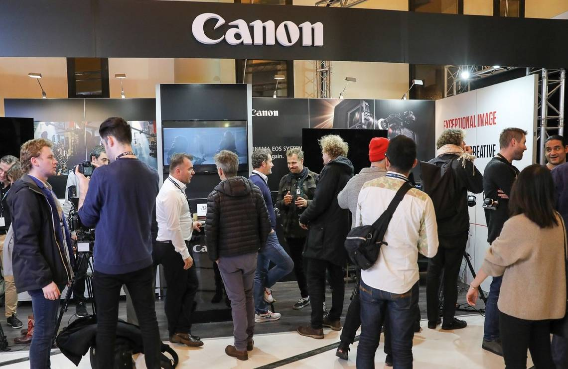 The Canon stand offering the latest products for visitors to touch and try at EnergaCAMERIMAGE 2018.