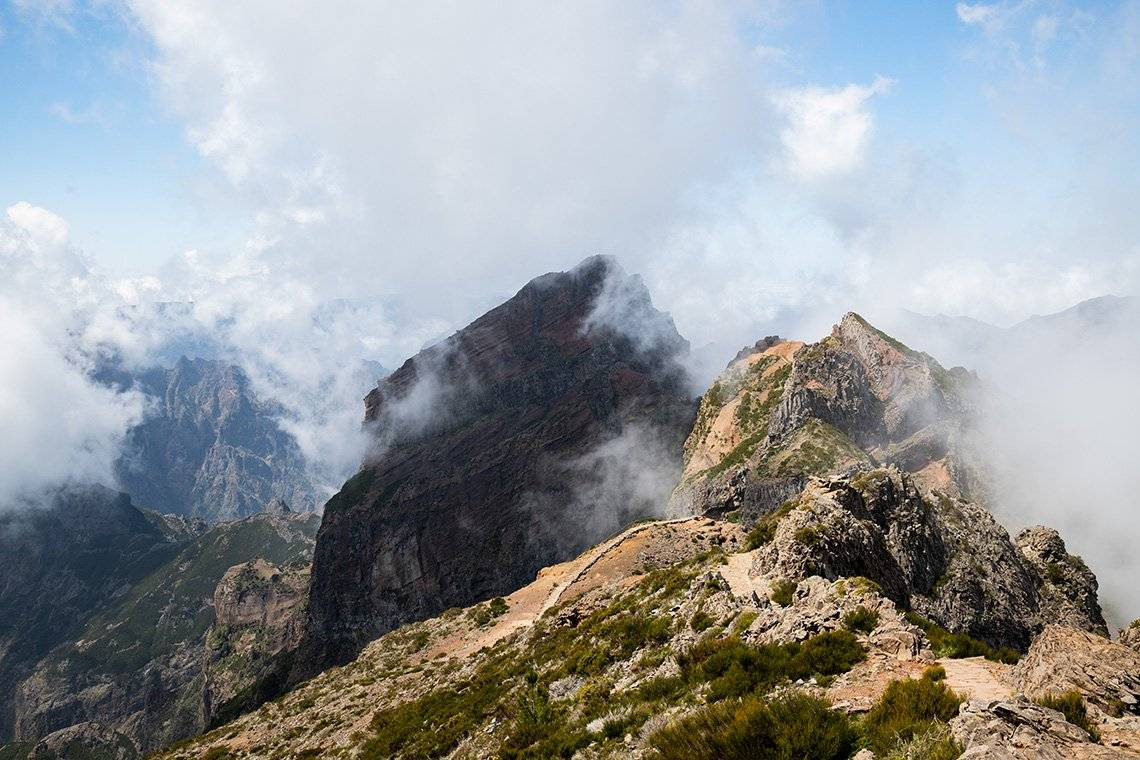 Misty mountaintops in Madeira. Photo by Michaela Nagyidaiová on a Canon EOS 6D Mark II with a Canon EF 24-70mm f/4L IS USM lens.