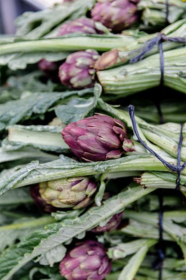 Artichokes in bundles are stacked up at a market. Photo by Annapurna Mellor with a Canon EF 24-70mm f/2.8L II USM lens.