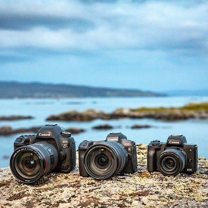 Canon EOS 5D Mark IV Canon EOS R and Canon M50 line-up on coast