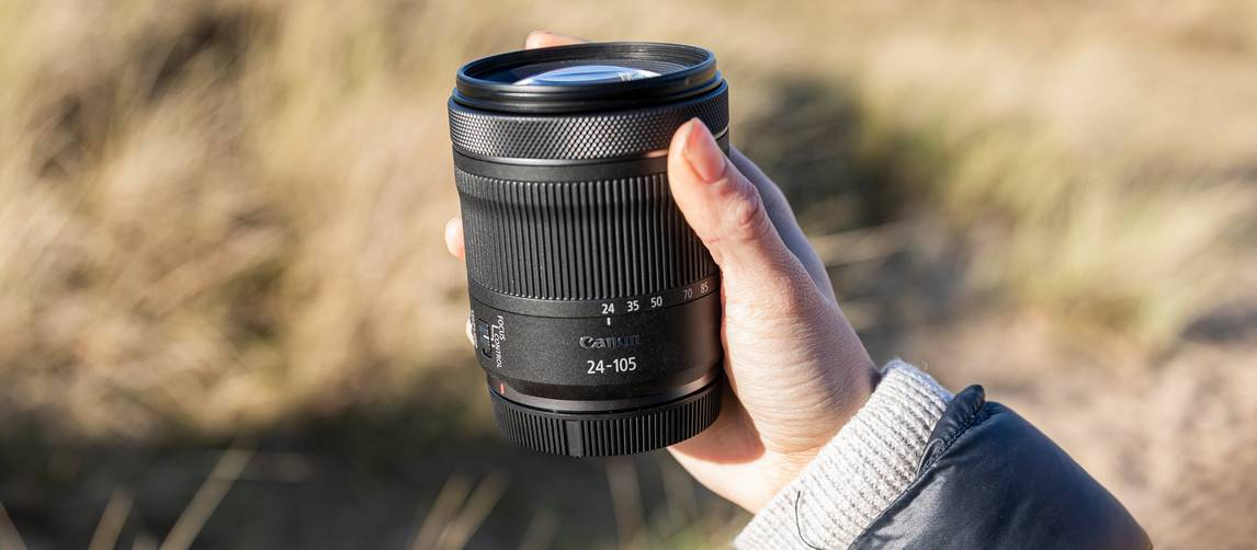 Shot of the RF 24-105mm F4-7.1 IS STM being held in hand