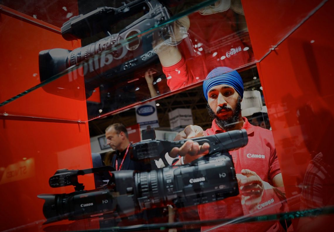 The latest 4K camcorders, on the Canon stand at the International Broadcasting Convention 2017.