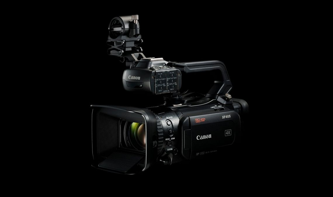 The Canon 4K XF405 handheld camcorder, which features a 1.0-Type CMOS sensor with 8.29 million pixels (effective).