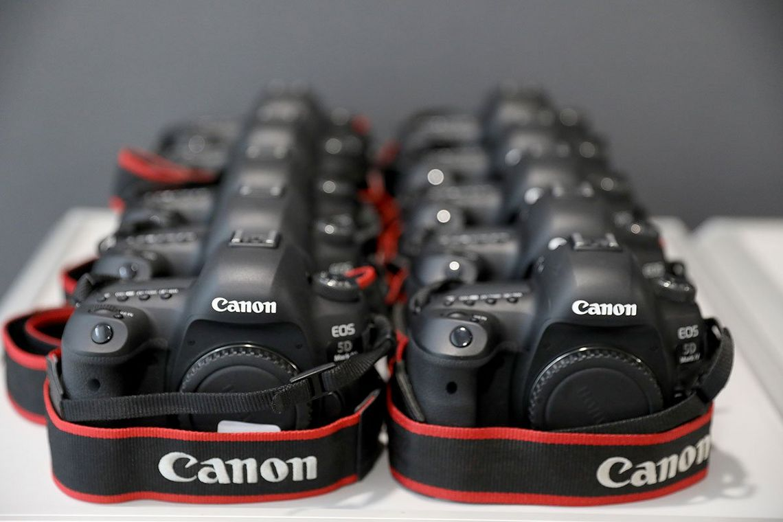 These are Canon EOS 5D Mark IV bodies lined up.