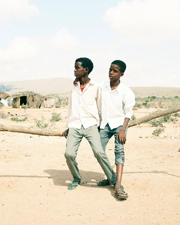Two boys pose in a camp for internally displaced people in Somaliland, Somalia, east Africa, where hundreds of thousands of people have been affected by droughts.