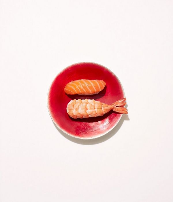 Sushi on a plate is arranged to represent the Japanese flag for a novel still-life shot by Felicity McCabe.