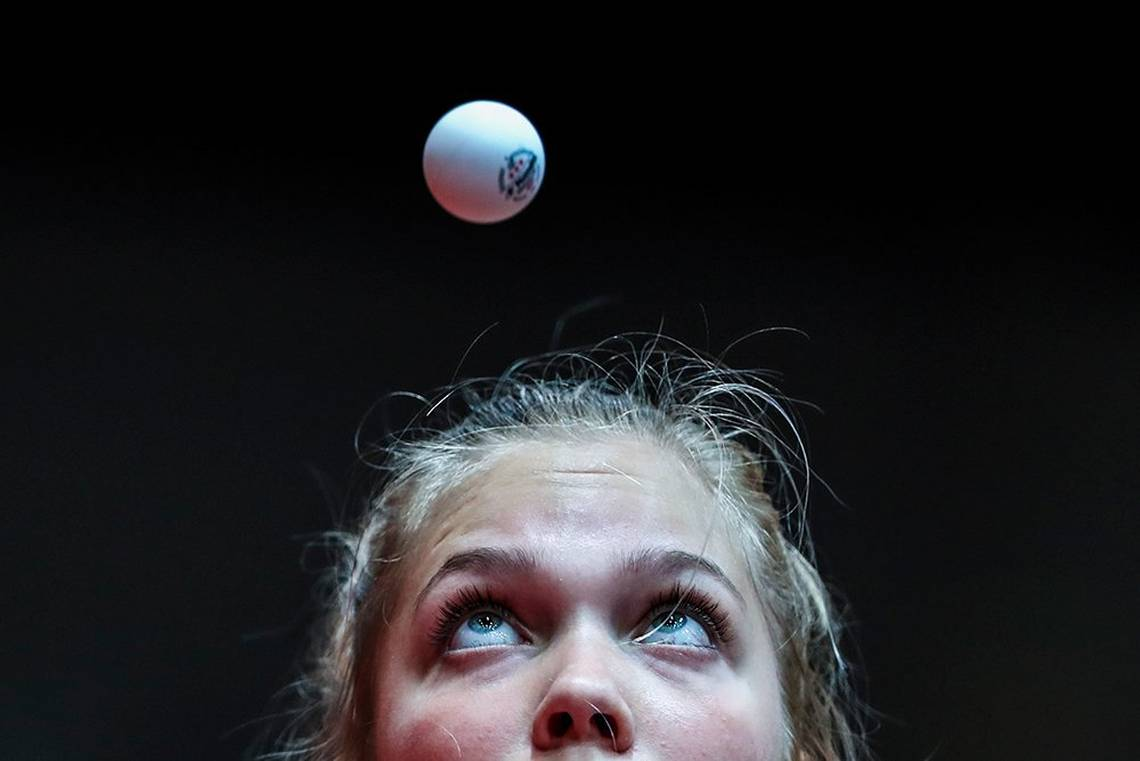 Maya Hitij captures the moment that Christina Kallberg of Sweden eyes a table tennis ball during a table tennis match in Düsseldorf, Germany