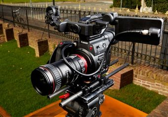 The Canon EOS C200 with a CN E18-80mm T4.4 L IS KAS S