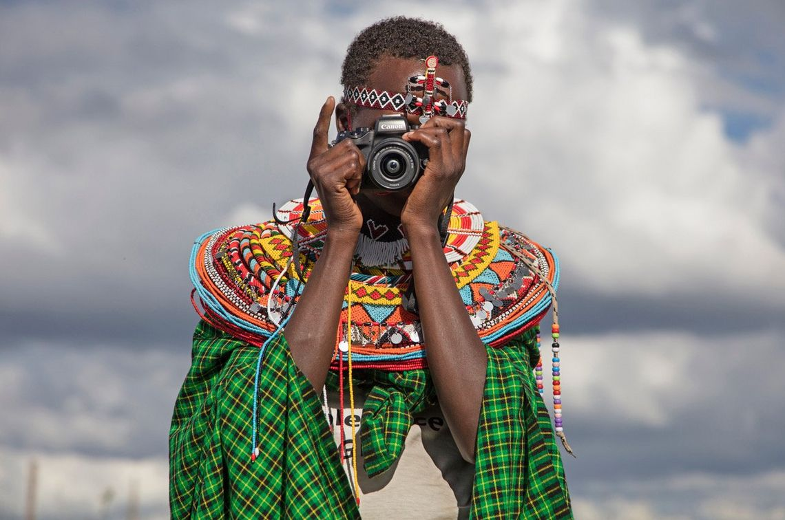 One of the participants of a photography workshop run by photographer and videographer Stephanie Sinclair in rural Kenya.