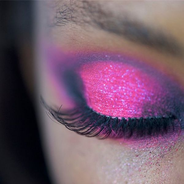 A close up of a model's made-up eye