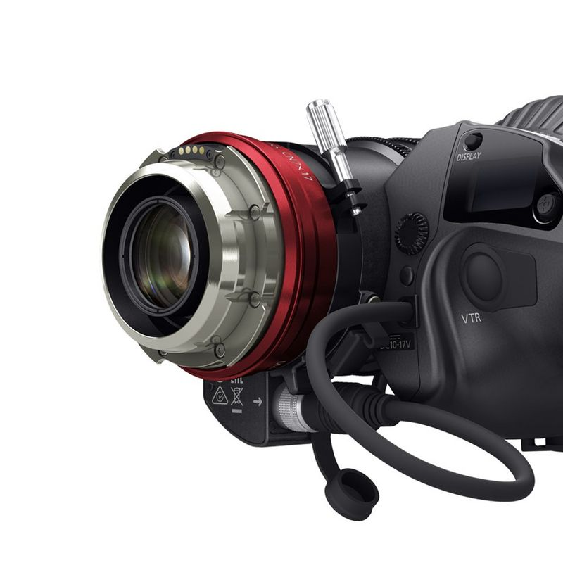 Close up view of Canon PL lens with mount